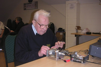 G3ICO operating his replica transistor transmitter